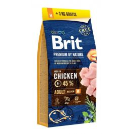 BRIT dog Premium By Nature ADULT M - 2 x 15kg + 3kg GRATIS
