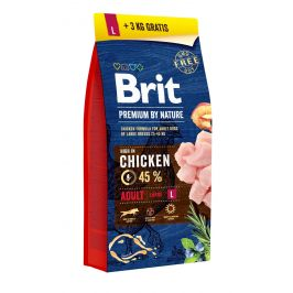 BRIT dog Premium by Nature ADULT L - 2 x 15kg + 3kg GRATIS