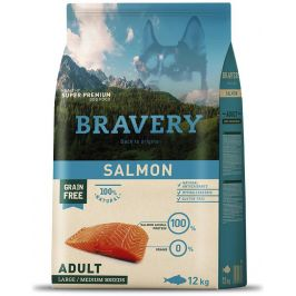 BRAVERY dog ADULT large/medium SALMON - 2 x 12kg + 3kg GRATIS