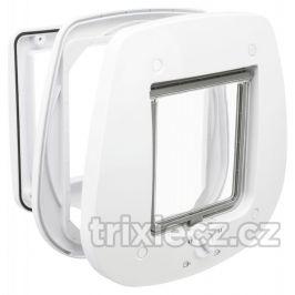 Trixie - DVÍŘKA průchozí  4-cestná/27x26cm/skleněné dveře - bílé