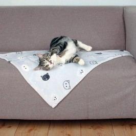 Trixie Plyšová deka Mimi pro kočky šedá s kočičími hlavami 70x50cm