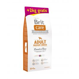 Brit Care dog Adult Medium Breed Lamb & Rice - 2x12kg + 2kg GRATIS