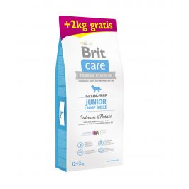 Brit Care dog Grain free Junior Large Breed Salmon & Potato - 12kg + 2kg GRATIS