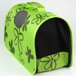 Vsepropejska Handy zelená taška pro psa s květinami Dle váhy psa: do 2 kg