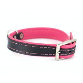 Vsepropejska Leather kožený obojek pro psa | 19 - 53 cm Barva: Růžová, Obvod krku: 19 - 23 cm