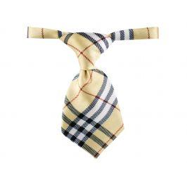 Vsepropejska Gema béžová károvaná kravata pro psa