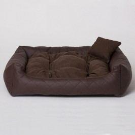 Zopet Hnědý kožený pelech pro psa s polštářkem 55 x 45 cm