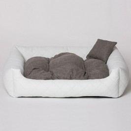 Zopet Bílý kožený pelech pro psa s polštářkem 55 x 45 cm