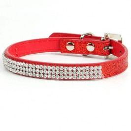 Zopet Třpytivý červený obojek pro psa 19 - 26 cm