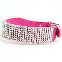 Zopet Luxusní růžový obojek pro psa s kamínky 27 - 33 cm