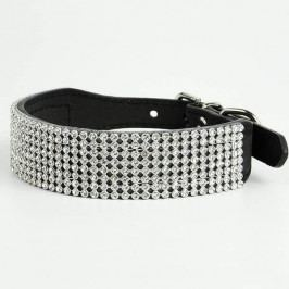 Zopet Luxusní černý obojek pro psa s kamínky 27 - 33 cm