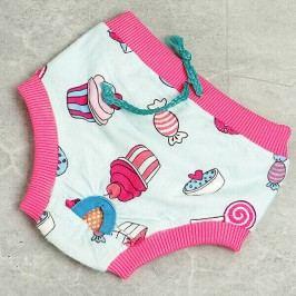 Zopet Modro růžové látkové hárací kalhotky pro psa 26 - 36 cm