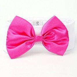 Růžovo-bílý motýlek pro psa s límcem 20 - 23 cm