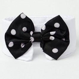Černo-bílý motýlek s puntíky pro psa s límcem 20 - 23 cm