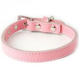 Zopet Růžový kožený obojek pro psa 20 - 26 cm