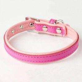 Zopet Růžovo růžový kožený obojek pro psa 22 - 27 cm