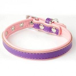 Zopet Fialovo růžový kožený obojek pro psa 22 - 27 cm