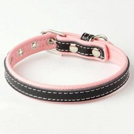 Zopet Růžovo černý kožený obojek pro psa 22 - 27 cm