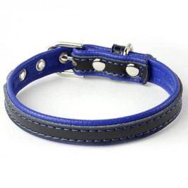 Zopet Černo modrý kožený obojek pro psa 22 - 27 cm