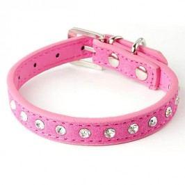 Zopet Tmavě růžový kožený obojek pro psa s kamínky 27 - 34 cm