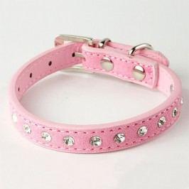 Zopet Růžový kožený obojek pro psa s kamínky 21 - 27 cm