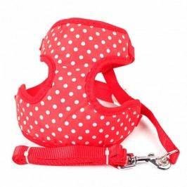 Zopet Červený postroj pro psa s puntíky + vodítko 30 - 42 cm