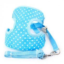 Zopet Modrý postroj pro psa s puntíky + vodítko 35 - 50 cm
