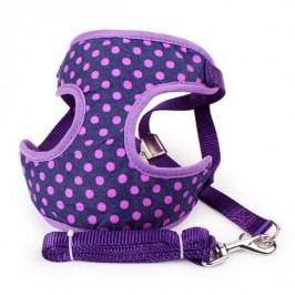 Zopet Fialový postroj pro psa s puntíky + vodítko 35 - 50 cm