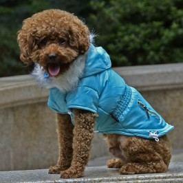 Zopet Modrá zimní bunda pro psa s kapsami 36 cm