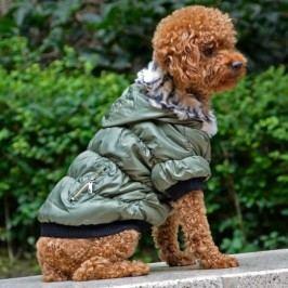 Zopet Zelená zimní bunda pro psa Petsoo 36 cm