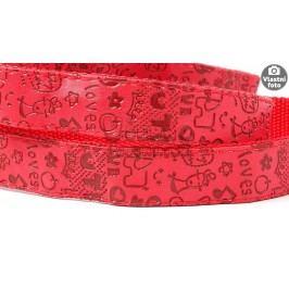 Zopet Červené vodítko pro psa s potiskem 120 cm