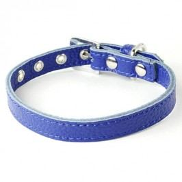 Zopet Modrý kožený obojek pro psa 20 - 26 cm