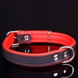 Zopet Červený kožený obojek pro psa 19 - 23 cm