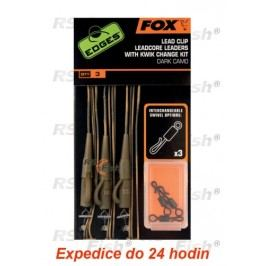 FOX® Lead Clip Leadcore Leaders With Kwik Change Kit - Dark Camo - CAC576