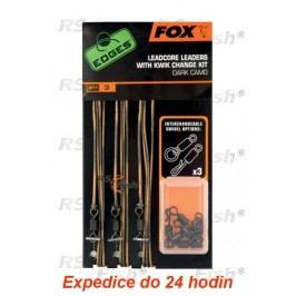 FOX® Leadcore Leaders With Kwik Change Kit - Dark Camo - CAC578