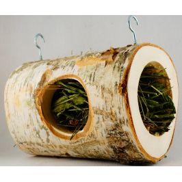 HamStake Hračka pro hlodavce dřevěný zavěšený tunel s platanem 20cm/10cm