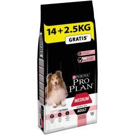 Purina Pro Plan Adult Medium Optiderma s lososem 14+2,5kg zdarma