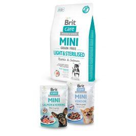 Brit Care Mini Grain Free Light & Sterilised 2kg+2x pouch 85g ZDARMA