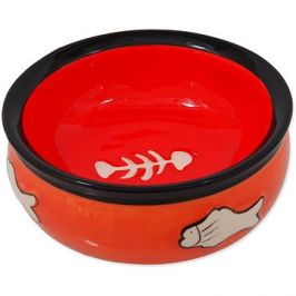 MAGIC CAT Miska keramická s rybkou oranžová 12,5 × 5 cm