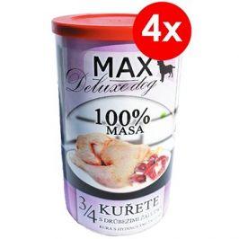 MAX deluxe 3/4 kuřete s drůbežími žaludky 1200 g, 4 ks