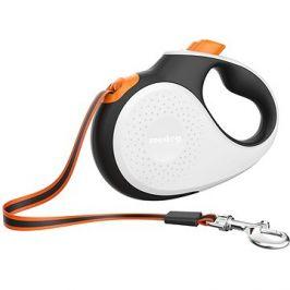 Reedog Senza Premium samonavíjecí vodítko L  50 kg / 5 m páska / bílé s oranžovou