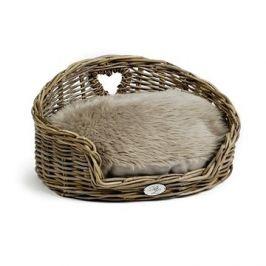 Pet Amour Kubu Ratanový košík s chlupatým polštářem 55 × 41 × 27 cm