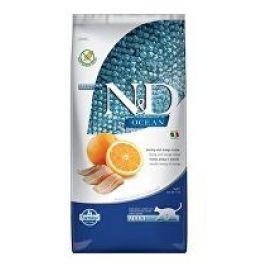 N&D OCEAN CAT GF Adult Herring & Orange 10kg + zásobník na krmivo zdarma (do vyprodání)