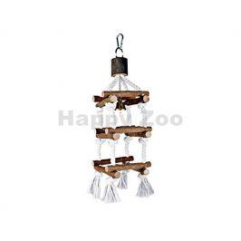 Hračka pro ptáky TRIXIE - závěsná dřevěná věž se zvonkem (L) 51c