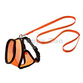 Postroj s vodítkem pro kočku FLAMINGO Harms (L) oranžovočerný 1,