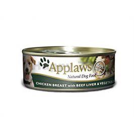 Konzerva APPLAWS Dog - kuře, hovězí játra a zelenina 156g