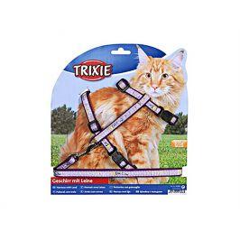 Postroj s vodítkem pro kočku TRIXIE s motivem Good Luck (XL) 34-