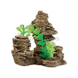 Dekorace AQUA EXCELLENT - skála s rostlinou 14x10,5x13cm