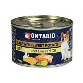 Konzerva ONTARIO Dog Adult Mini Calf with Sweet Potato & Linseed