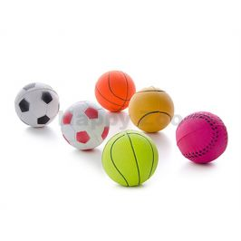 Hračka JK guma - míček 6,3cm (6ks) (MIX BAREV)